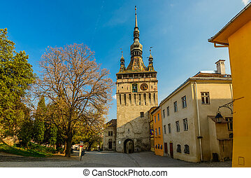 Clock Tower in Sighisoara - clock tower in historic center...