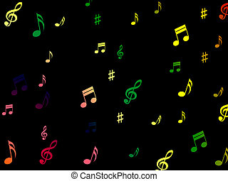 Musical Notes Background Shows Creative Composition Or Tone...
