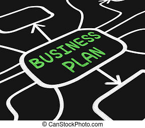 Business Plan Diagram Means Goals And Strategies For Company