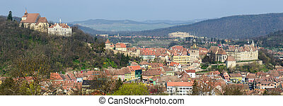 Sighisoara panorama - panorama view of old historic city...