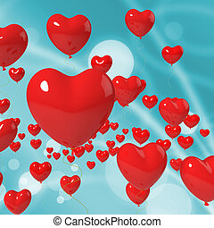 Heart Balloons On Background Showing Valentines Decoration Or Celebration