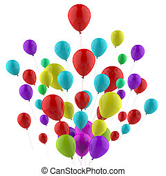 Floating Colourful Balloons Mean Carnival Joy Or Happiness -...