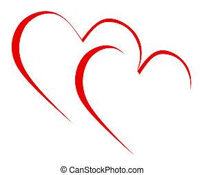 entrelaçado, corações, má,...