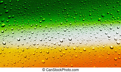 Beer - Irish flag on glass of beer with bubbles