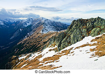 Mountain winter snowy landscape - Green sunny landscape with...