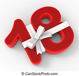 Number Eighteen With Ribbon Meaning Special Event Or Happy...