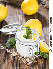 Lemon Yoghurt - Portion of fresh homemade Lemon Yoghurt on...