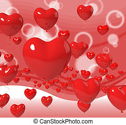 Heart Balloons On Background Means Passion Love And Romance