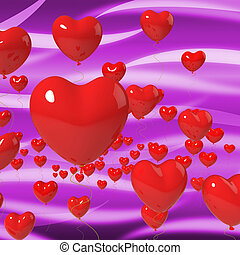 Heart Balloons On Background Meaning Passionate Marriage Or Beautiful Wedding