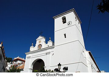 White church, Monda, Spain. - Santiago Apostle Church...