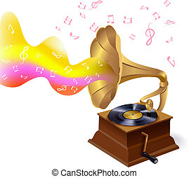 Music background with gramophone - Vintage retro vinyl...