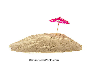 Parasol at the beach - Pink parasol at the beach isolated...