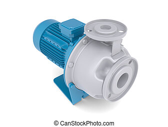 Water pump motor Isolated render on a white background