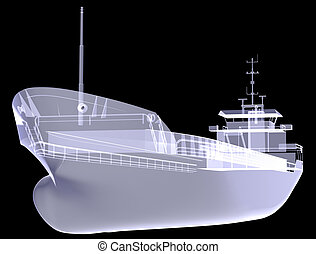 Cargo vessel. X-ray render isolated on the black background