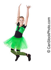 Happy girl in tutu skirt jumping isolated on white, in...