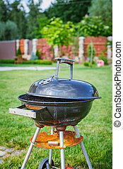 Barbecue - Grilling theme with barbecue stuff Kettle...