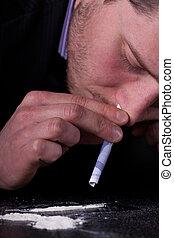 homem, Levando, cocaína