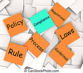 Compliance Post-It Note Shows Following Rules And...