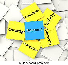 Insurance Post-It Note Shows Financial Security And Coverage...