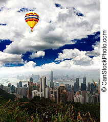 The Hong Kong Skyline from hill top