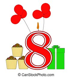 Number Eight Candle Means Eighth Birthday Party Or...
