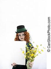 Girl in green with blank sign - Beautiful young Irish girl...