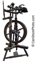 Old spindle - Old textile spinning wheel isolated with...