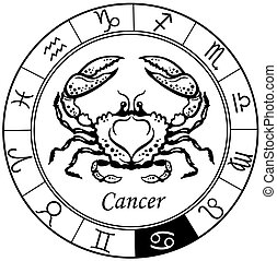 cancer black white - cancer astrological zodiac sign, black...