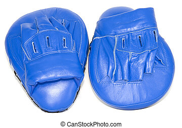 Boxing Mitts - Blue punching focus mitts isolated on white...