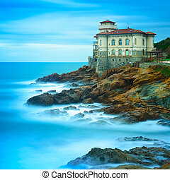 Boccale castle landmark on cliff rock and sea in winter....