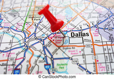 Dallas - Red push pin and a map of Dallas, Texas...