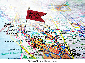 Silicon Valley flag - Map of the Silicon Valley area of...