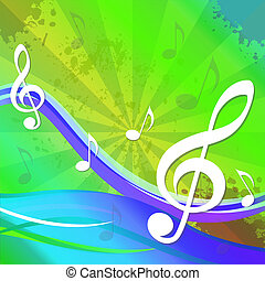 Treble Clef Background Shows Sound And Music - Treble Clef...