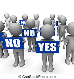 Characters Holding No Yes Signs Show Indecision Or Confusion...