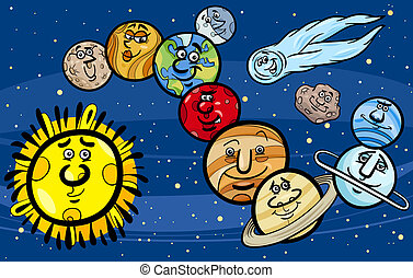 solar system planets cartoon illustration - Cartoon...