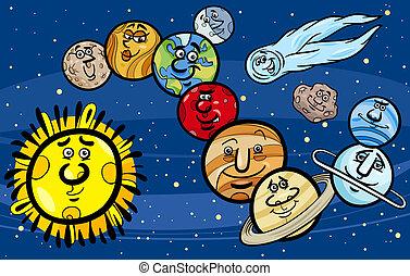 solar, Sistema, planetas, caricatura, Ilustración
