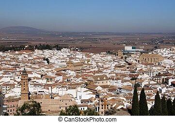 Town rooftops, Antequera, Spain. - San Sebastian church...