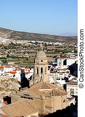 Church in centre of town, Loja. - View of the town and...