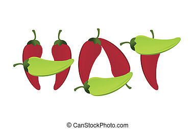hot peppers text sign illustration