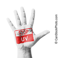 Open hand raised, Stop UV (Ultraviolet) light sign painted,...