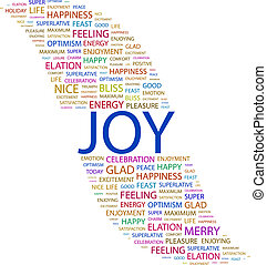 JOY. Concept illustration. Graphic tag collection. Wordcloud...