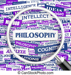 PHILOSOPHY. Background concept wordcloud illustration. Print...