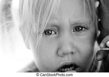 enojado, trastorno, niña, padre
