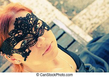 retrato, hermoso, mujer, máscara, Aire libre
