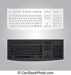 black and white computer keyboard eps10