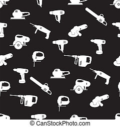 power tools black and white pattern eps10