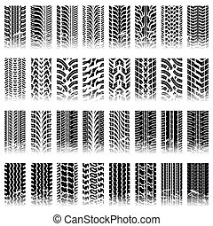 Set of tileable tire track patterns - Thirty two piece set...