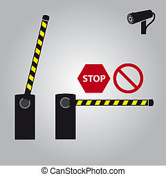 vector barrier with cam and signs eps10