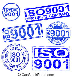 ISO 9001 Stamps - ISO 9001 rubber stamp symbol vector...
