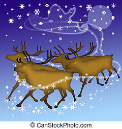 deers of Santa - the four deers and silhouette of the sleigh